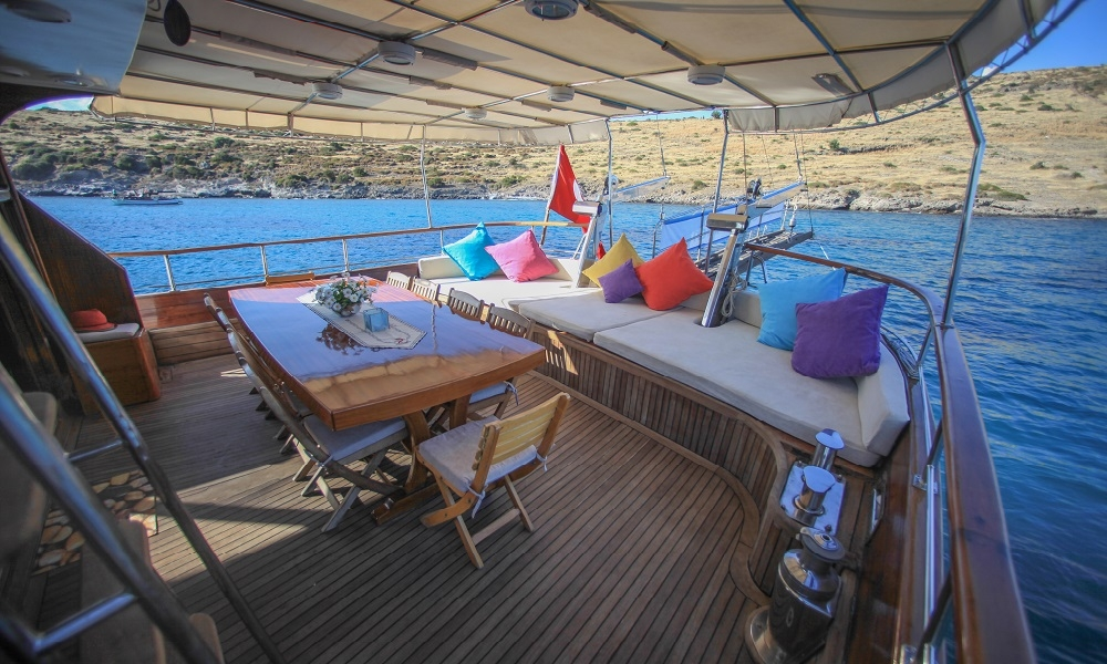 dining area on sail boat in the water