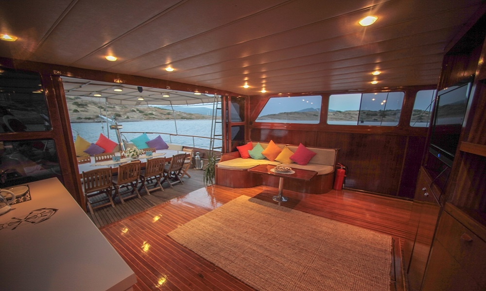 living area in boat on the water