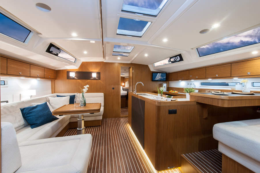 lounge area of boat
