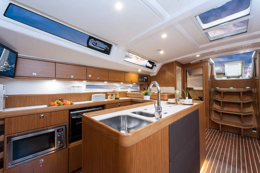 kitchen area of boat