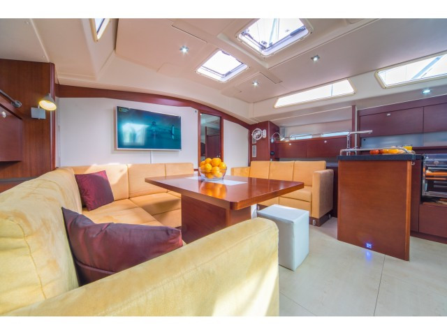 living room of boat