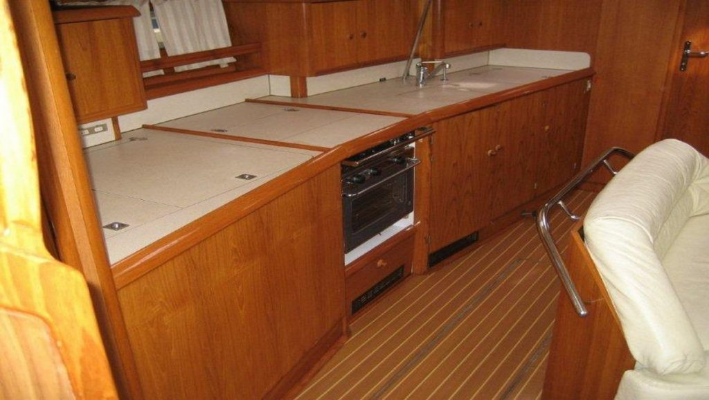 beautiful interior of wooden boat