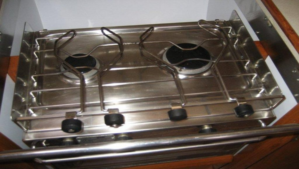 stove in kitchen of boat