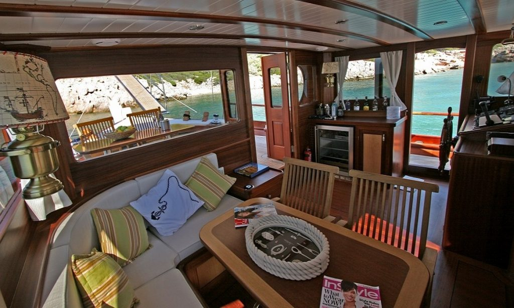 dining area inside boat