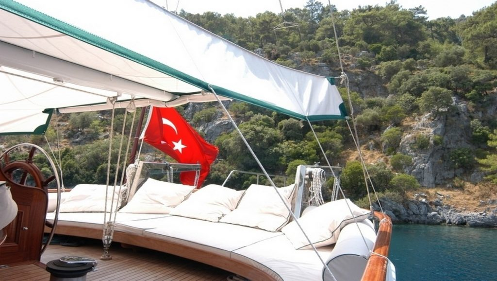 Ece Berrak Gulet outdoor lounge area on boat