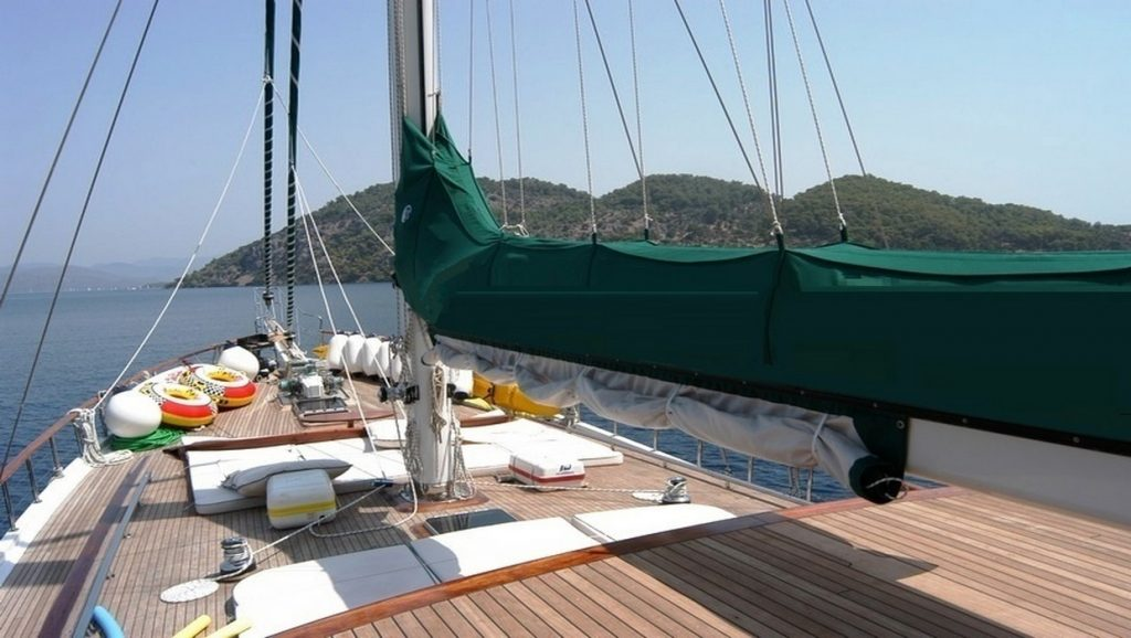 Ece Berrak Gulet deck of boat in the water