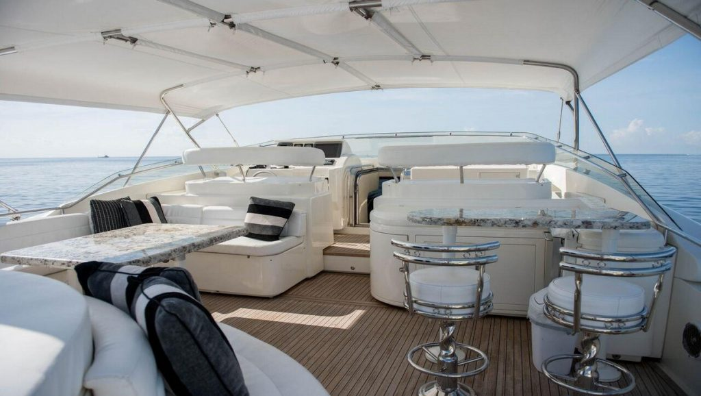 Ferretti 00Z bar and living area on top deck